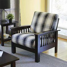 New Living Room, Living Room Chairs, Living Room Furniture, Wood Furniture Legs, Furniture Design, Furniture Ideas, Plaid Chair, Wooden Sofa, Exposed Wood