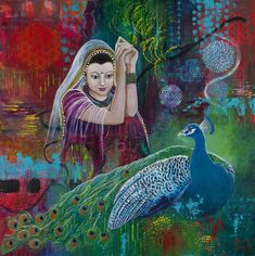 Kwan-Yin and her peacok -Intuitive Paintings - Susan Farrell Art