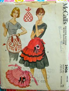UNCUT 1960 McCalls  Pattern 2406 *  Cottage Chic  Misses'  Hostess Aprons with Ruffles and Embroidery  Transfers  & Pompoms *  One Size