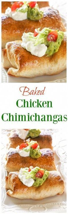 Baked Chicken Chimichangas - Crispy baked authentically seasoned chicken, cheddar and chilies with Mexican toppings of your choice. Delicious!