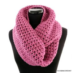 CROCHET PATTERN-Circle Scarf-Pretty in Pink-Infinity Scarf-Crochet-DIY-Crafts-Instant Download-Lyubava Crochet Pattern Pdf No.150 by LyubavaCrochet on Etsy