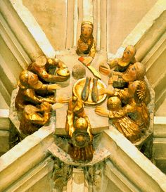An ingeniously-composed roof boss from the nave vault of Norwich Cathedral, showing a kind of aerial view or 'table plan' of the Last Supper.
