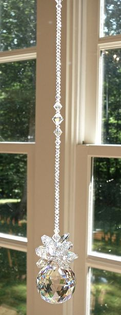 "Crystal Pineapple Suncatcher, Swarovski Logo-Etched Crystal Ball and Octagons, Window Hanger, Prism - ""ISABELLA"" Heartstrings by Morgan Sun Catchers, Beaded Ornaments, Crystal Ball, Feng Shui, Wind Chimes, Swarovski Crystals, Diy And Crafts, Christmas Crafts, Jewelry Making"