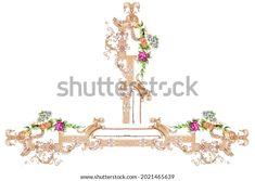Digital Textile Design Motif Botanical Flower Stock Illustration 2021465639