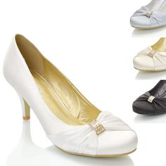 WOMENS WEDDING BRIDAL STILETTO LADIES LOW HEEL SATIN EVENING COURT SHOES SIZE