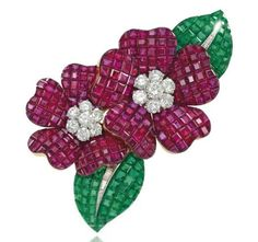 A 'MYSTERY-SET' RUBY, EMERALD AND DIAMOND 'DEUX FLEURS' CLIP BROOCH, BY VAN CLEEF & ARPELS