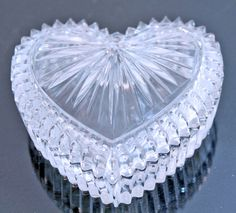Elegant Vintage Cut Glass Heart Shaped Jewelry Trinket Box with Lid