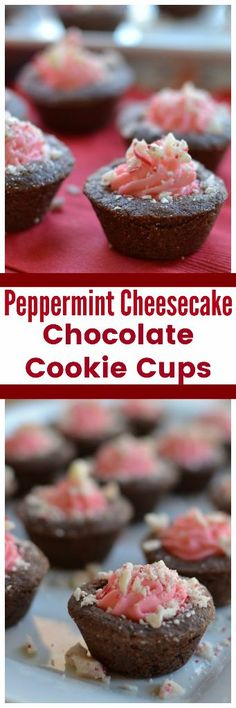 Adorable Peppermint Cheesecake Chocolate Cookie Cups Sugar Cookie Cups, Chocolate Sugar Cookies, Chocolate Cheesecake, Chocolate Cakes, Easy Christmas Treats, Christmas Desserts, Christmas Baskets, Mini Desserts, Delicious Desserts