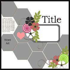 "Cricut Inspired Scrapbook Layouts: New ""Hexagon"" Scrapbook Layout Cricut cut file + Sketch"