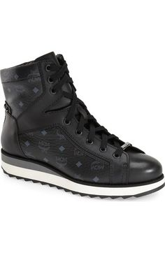 MCM'Monogram' High Top Sneaker (Women) available at #Nordstrom