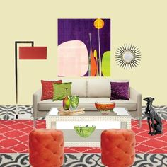 Interior designer inspired by art, baking, design, floral arranging & yoga Living Room Inspiration, Design Inspiration, Farrow Ball, Colorful Decor, Floor Chair, Love Seat, Abstract Art, Sweet Home, House Design