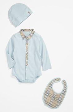 Burberry Bodysuit, Hat & Bib (Baby Boys) available at #Nordstrom