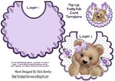 Cute fuzzy bear with purple bow and flowers on a bib on Craftsuprint - Add To Basket!