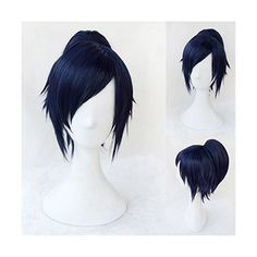 Toptheway Short Straight Clip-on Ponytail Black Blue Anime Cosplay... ($27) ❤ liked on Polyvore featuring hair