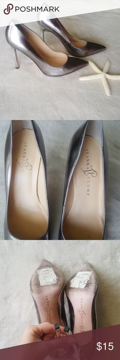 Ivanka Trump Silver Heels Pointed toes. Leather sole has slight wear, otherwise excellent condition. Only worn a 2-3x. Original purchase sticker is on bottom and can still make out original purchase price $50. Ivanka Trump Shoes Heels