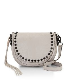 Pebbled+Leather+Studded+Saddle+Bag,+Putty+by+Rebecca+Minkoff+at+Neiman+Marcus.