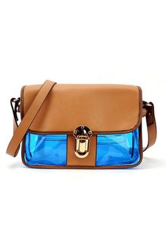 The shoulder bag crafted in PU, featuring elegant camel fold over flap fastening to the front with metal buckle detail, three colors main with popular transparent appearance and long detachable shoulder strap.