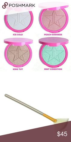 LISTING FOR 2 JEFFREE STAR SKINFROST + Brush COLORS: Ice cold and peach godess  Highlighter Brush jeffree star Makeup Luminizer