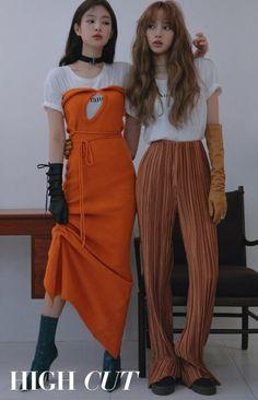 Blackpink Jennie & Lisa - High Cut (Vol. Blackpink Fashion, Korean Fashion, Fashion Outfits, Magazin Covers, Mode Kpop, Jennie Kim Blackpink, Kim Jisoo, Black Pink Kpop, Blackpink Photos
