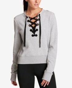 Dkny Sport Cotton Lace-Up French Terry Sweatshirt - Gray XS