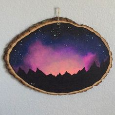 Night Sky Painting on wood slice by KittenMeRightMeowArt on Etsy