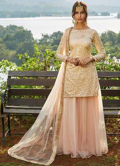 Blush Pink Sequins Embroidered Net Lehenga features a taffeta silk kameez with santoon inner, net bottom with santoon inner and net dupatta. Embroidery work is completed with sequins and lace embellishments. Net Lehenga, Bridal Lehenga, Anarkali, Saree, Pakistani Dress Design, Pakistani Outfits, Indian Wedding Outfits, Indian Outfits, Ethnic Outfits