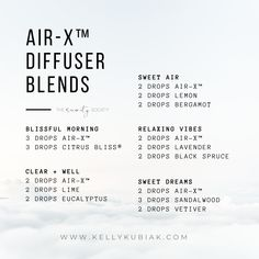 Diffuser Blends using doTERRA's Air-X™ Blends