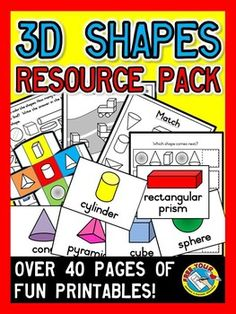 SALE!! This MEGA RESOURCE PACK, containing 43 pages, is an ideal resource for children learning #3D #shapes (#cone, #sphere, #pyramid, #cylinder, #cube and #rectangular #prism)! Basic to more complex #printables are included in this pack. Apart from that, I have included #flashcards (accompanied by pictures), 3D shapes #dice and Guess the shape question cards.  Printables include finding the odd one out, cutting and pasting, identifying 3D shapes in pictures and so much more!