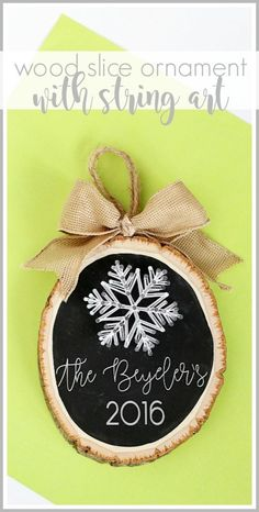 how to make your own diy Wood Slice String Art Ornament - super fun holiday craft idea!! - - Sugar Bee Crafts