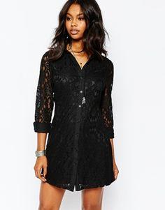 Boohoo Lace Shirt Dress