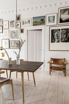#dining room with large gallery wall