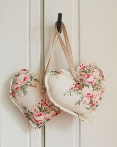 Handmade Tilda Fabric Hanging Hearts Set of Two Vintage Wedding Shabby Chic Shabby Chic Hearts, Sewing To Sell, Fabric Hearts, Boho Bedroom Decor, Heart Crafts, Hanging Hearts, Hand Embroidery Stitches, Valentine Crafts, Little Gifts