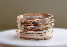 Sterling Silver & Rose Gold Stackable Rings by SecretCharm on Etsy, $75.00