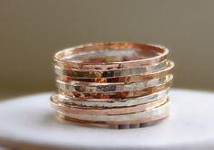 Stapelringe aus Silber und RoséGold-Gefüllt von NadineJewelry