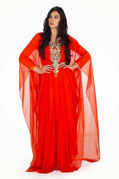 Joanna Orange Chiffon Gown Style Kaftan