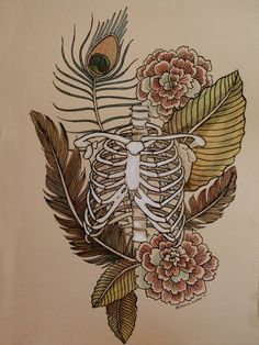 Ribcage with Feathers and Flowers Drawing by Rebecca Ladds