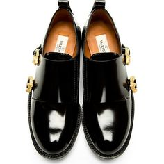 Valentino Black Serpentine Monk Strap Shoes (3,575 MYR) ❤ liked on Polyvore featuring shoes, flats, flat shoes, laced up shoes, round toe lace up flats, flat lace-up shoes and leather flat shoes