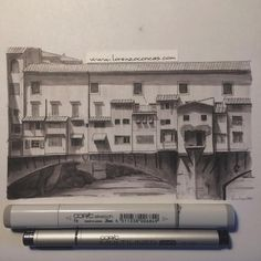 Ponte Vecchio Florence. Architectural Drawings of Historical Buildings. To see more art and information about Lorenzo Concas click the image.