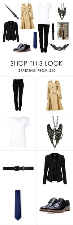 """Castiel Cosplay"" by redtulip925 ❤ liked on Polyvore featuring Moschino, Jean-Paul Gaultier, Max 'n Chester, Lauren Ralph Lauren, Topshop and Grenson"