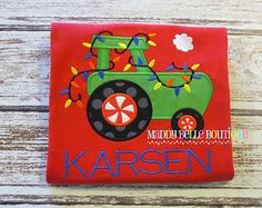 Boys Holiday Tractor with Lights Appliqued Shirt - Holiday, Christmas, Tractor, Lights, Boys, Monogram, Personalized Shirt, Toddler