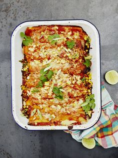 Veggie enchiladas Filled with grilled veg, cumin-fried black beans and fresh coriander, and baked until bubbling and golden, this Mexican classic is super comforting Vegetable Korma Recipe, Yummy Vegetable Recipes, Mexican Food Recipes, Healthy Recipes, Vegetable Samosa, Olive Recipes Vegetarian, Healthy Food, Veggie Meals, Vegetarian Options