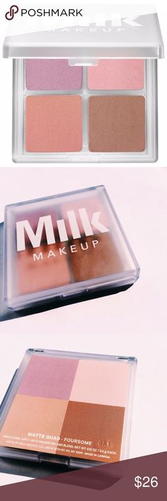 MILK MAKEUP Shadow Quad - Color: Foursome What it is: An eyeshadow quad with creamy, nude or smoky shades.  What it does: These four-shade eye palettes allow you to create a smoky eye for day or night or create a perfect muted look. The blendable shades in shimmer and matte finishes swipe on sheer, but build to bold intensity. The marshmallow-cream texture turns into weightless powder for lasting hold. Suggested Usage: -Apply with fingertips and blend MIlk Makeup Makeup Eyeshadow