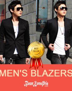 Blazer Korea Pria Mandarin Collar