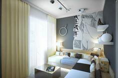 Trendy Corner Sofa Sets With Dark Cushions Under Shelf