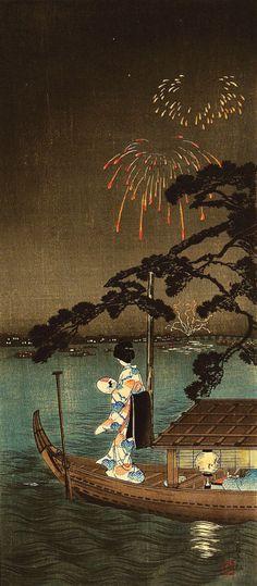 blackcoffeecinnamon: Shoutei (1871-1945) 松亭 The PineTree of Succes on the Sumida River 大川首尾の松、1910