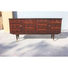 Art Deco Exotic Macassar Ebony Sideboard/Buffet For Sale - Image 12 of 13 Sideboard Buffet, Credenza, 1940s, Exotic, Art Deco, Shelves, Image, Furniture, Design