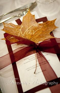 If we ever decide to have a ceremony, I love the idea of printed leaves. Autumn. #Autumn Wedding #fall wedding