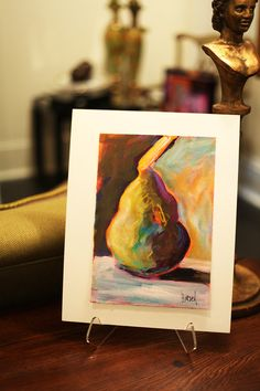 Original Colorful Pear Painting by Nancy Hirsch-Lassen at the Hirsch-Lassen Gallery.     $150