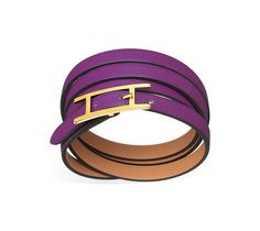 "Hermes leather bracelet Swift calfskin  Gold plated hardware, 27.5"" long, 0.3"" wide, 7"" circumference."