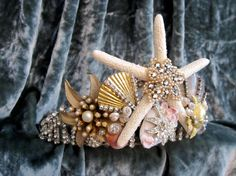 Vintage Rhinestone Seashell Tiara Beach Wedding by LadidaHandbags